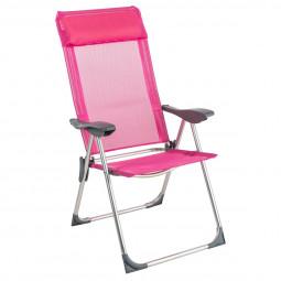 Fauteuil chaise pliante de camping Aloe 5 Positions Rose