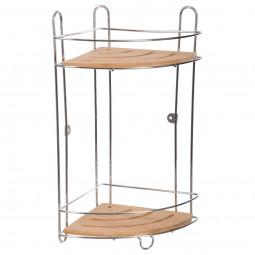 Etagère de salle de bain 2 plateaux en métal et bambou