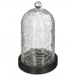 Cloche verre craquelé socle bois H19