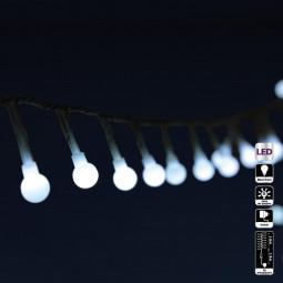 Guirlande lumineuse extérieure 120 Perles LED Blanc froid sur 6 mètres et 8 jeux de lumières