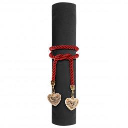 Rond de serviette Corde rouge et pendentif Or Colorama de noël