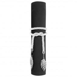 Rond de serviette Corde blanche et pendentif Argent Colorama de noël