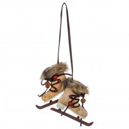 Décoration Suspension Sujet de Noël Paire de patins en fourrure et bois H 22 cm Un Noël kinfolk