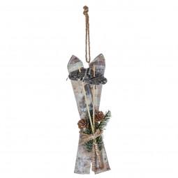 Décoration de Noël Paire de ski en bois décorée à suspendre H 30 cm Un Noël kinfolk