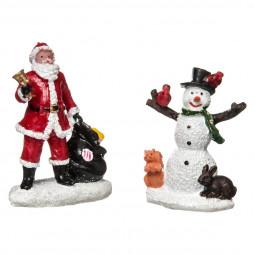 Accessoires pour Village de Noël Set 2 Figurines Santons Père Noël et Bonhomme de neige