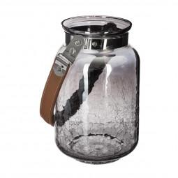 Lanterne Photophore en verre fumé craquelé avec anse cuir H 20,5 cm collection Lodge