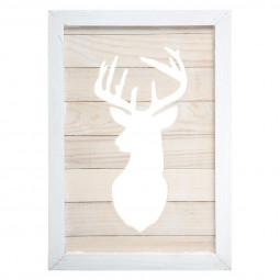 Décoration Cadre en bois ajouré Renne 27.5 x 40 cm collection Lodge