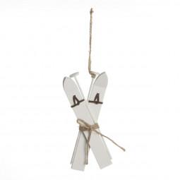 Sujet de noël Skis en bois  6 x 15 cm