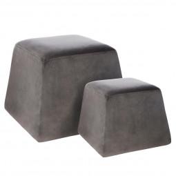 Lot de 2 poufs cubics velours gris
