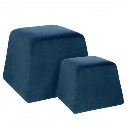 Lot de 2 poufs cubics velours bleu