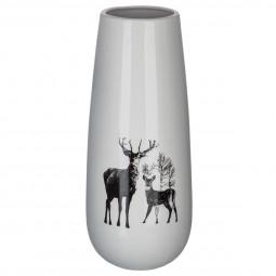 Vase en Porcelaine imprimé renne H 35.5 cm