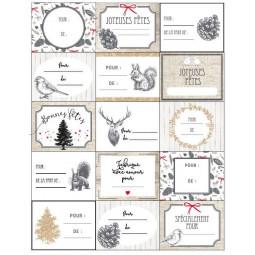 """Lot de 15 étiquettes pour paquets cadeaux  pop """"comptoir de noël"""""""