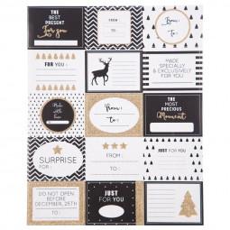 """Lot de 15 étiquettes pailletées pour paquets cadeaux  """"black touch"""""""