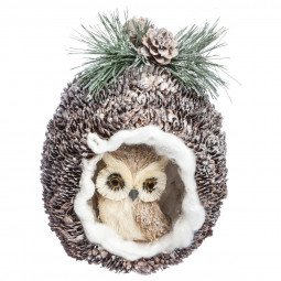 Décoration de noël Hibou dans son nid H 18 cm  A l'orée des bois