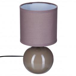 Lampe en céramique boule taupe H25