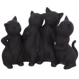 4 chats mistinguette en résine 25x20x10,5 cm
