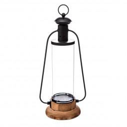 Lanterne métal + bois H42 cm