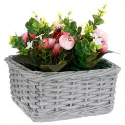 Composition florale vase ciment H15