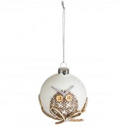 Décoration de sapin Boule de noël en verre deco jute D 7 cm Un Noël kinfolk