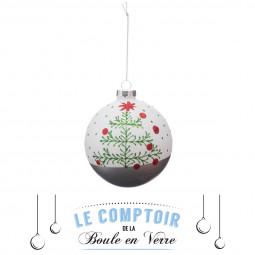Décoration de sapin Boule de noël en verre deco imprimé  D 8 cm  Comptoir de Noël