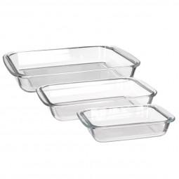 Lot de 3 plats rectangles à four verre