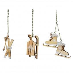Décoration Sujet de Noël Lot de 3 Formes en bois avec fourrure blanche H 11 cm  A l'orée des bois