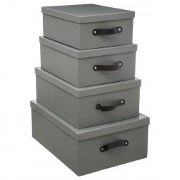 Lot de 4 boites de rangement aspect bois gris