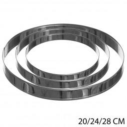 Lot de 3 cercles 20/24/28cm inox