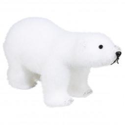 Décoration de Noël Ours polaire sur ses 4 pattes floqué blanc H 21  cm Sous son blanc manteau