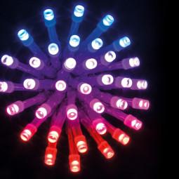 Guirlande lumineuse 200 LED, 20 m de lumière avec Contrôle à distance - Extérieur et Intérieur - Bleu, Rouge, Rose et Parme
