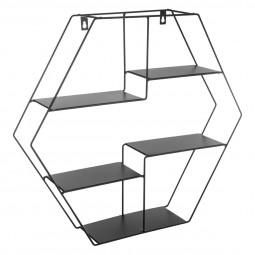 Etagère en métal murale hexagonale H 44 cm