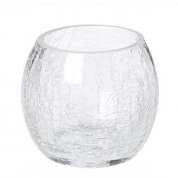 Photophore rond verre craquelé H7