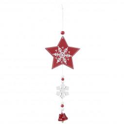 Décoration Suspension Sujet de Noël  Forme en métal et bois traditionnel Rouge et Blanc avec cloche H 20 cm Comptoir de Noël