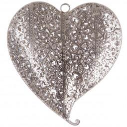 Coeur métal ajouré 17,5x16x3,5