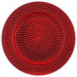 Assiette de présentation ronde martelé Rouge D 33 cm La maison des couleurs