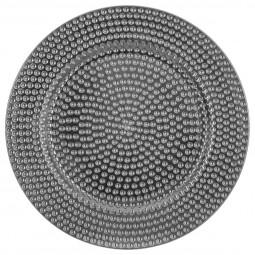 Assiette de présentation ronde martelé Argent D 33 cm La maison des couleurs