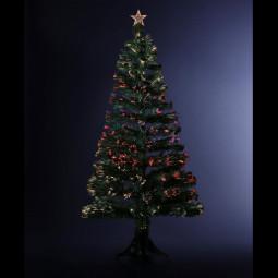 Sapin de Noël Artificiel Lumineux avec Fibre Optique à Variation de lumière H 90 cm Tallin