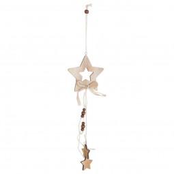 Décoration Suspension Sujet de Noël Forme en Bois ajouré H 26 cm A l'orée des bois