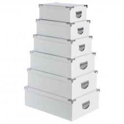 Lot de 6 boîtes coins métal uni blanc