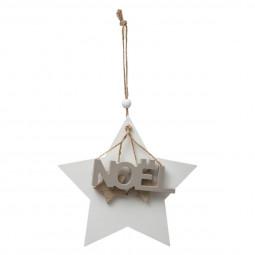 Décoration Sujet de Noël Forme en Bois avec breloque NOËLD 15 cm collection Esmée