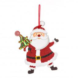 Décoration Suspension Sujet de Noël Forme plate et pailletée L 16 cm Comptoir de Noël