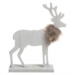 Décoration de Noël Renne en bois avec fourrure su socle 28.5 x 18.3 cm collection Lodge