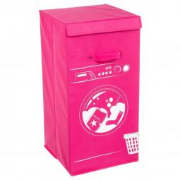 Panier à linge décor machine rose