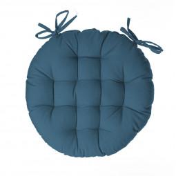 Galette de chaise ronde bleu canard d40