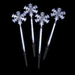 Eclairage de Noël Lot de 4 pics lumineux H 75 cm 134 LED Blanc froid