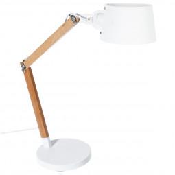 Lampe bois + abat-jour métal blanc H60