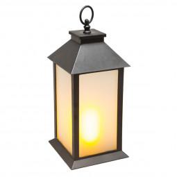 Lanterne noire flamme dansante H30,5 cm