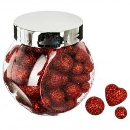 Bocal 60 accessoires de déco Noël Rouge Paillettes Coeur et Boules assortis La maison des couleurs