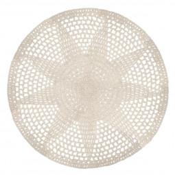 Tapis crochet blanc/or D90