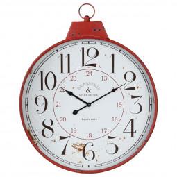 Pendule métal bistrot rouge 51.1X64